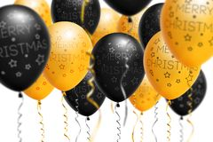 Bright gold and black balloons 2018, Christmas, New Year Balloon with glitter on white background. Isolated. Ballon. Inscriptions. Christmas and new year Stock Photo