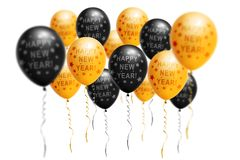 Bright gold and black balloons 2019, Christmas, New Year Balloon with glitter on white background. Isolated. Ballon. Inscriptions. Christmas and new year royalty free stock images