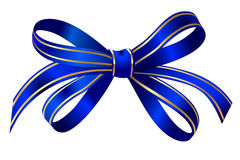 Bright gold and blue gift bow isolated over white Royalty Free Stock Photography