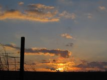 Bright Gold Clouds in Rural Winter Sunrise with Fence Post and Barbed Wire Silhouette Royalty Free Stock Photography