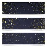 Bright gold mist particle over dark background card collection. Metallic scatter Golden shiny dots flyer set. Vector illustration Stock Photo