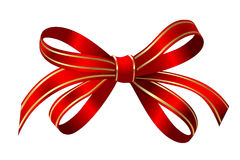 Bright gold and red gift bow isolated over white Stock Photos