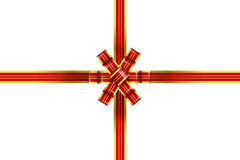 Bright gold and red gift bow isolated over white Royalty Free Stock Images