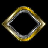 Bright gold and silver metal logo shape Stock Images