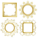 Bright gold vintage vector frames with transparent shadow. Bright gold vintage vector frames with transparent  shadow inside Stock Image