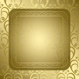 Bright golden vector background with golden orname Royalty Free Stock Image