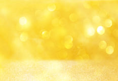 Bright golden bokeh lights and texture. defocused abstract background. Royalty Free Stock Photography