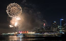 New year´s fireworks with Vancouver skyline seen from Stanley park stock photography