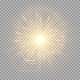 Explosion of a golden star with a glare. A bright golden flash of light on a transparent background for New Year greetings. Vector illustration with glare Royalty Free Stock Photography
