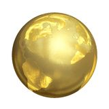 Bright Golden Globe in 3D Royalty Free Stock Image