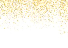 Bright golden particle glittering and shimmering abstract backgr. Ound. Isolated Confetti falls over white layout. Club Party Card template. Vector illustration Royalty Free Stock Photography