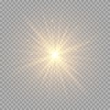 Brilliant golden rays. Bright golden rays on a transparent background. Brilliant light effect for festive decoration Stock Photography