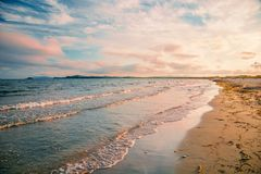 Bright golden sunset on the beach, the waves on the sand, shells. Setting sun Stock Photo
