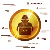Bright golden wooden icon with hacker or coder symbol on white b. Ackground Stock Images