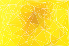 Bright golden yellow geometric background with mesh. Royalty Free Stock Photo