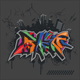 Bright graffiti. On grunge city backround (urban art Stock Photo
