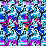 Bright graffiti geometric seamless pattern grunge effect Royalty Free Stock Images
