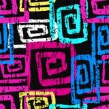 Bright graffiti geometric seamless pattern grunge effect. (vector eps 10 Stock Illustration