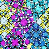 Bright graffiti geometric seamless pattern grunge effect Royalty Free Stock Photos