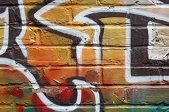 Bright graffiti on a peeling wall Royalty Free Stock Photography