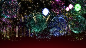 Bright  grand festive fireworks on grade dark background. Beautiful flashes of fireworks in the sky. 7