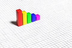 Bright graph on white background. 3d rendering of colorful bars on white checkered background Royalty Free Stock Photo