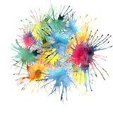 bright graphic artistic abstract red yellow blue green purple blots in a circle watercolor Royalty Free Stock Photo