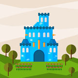 Bright graphic illustration with cartoon blue colored castle for use in design for card, invitation, bunner, poster or placard. Background vector illustration