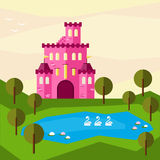 Bright graphic illustration with cartoon pink colored castle for use in design. For card, invitation, poster or placard background stock illustration