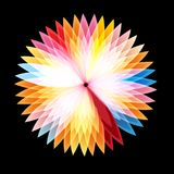 Bright graphics abstract colorful glowing flower. On a dark background royalty free illustration