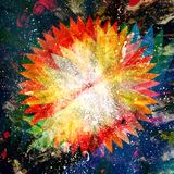 Bright graphics abstract colorful glowing flower. On a dark background Stock Photo
