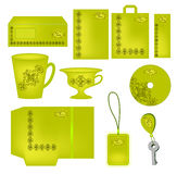 Bright green  abstract corporate style with ornaments. ( cap, folder, blank,letter,label,sticker, bag, key holder). Vector company style for brandbook and Stock Photos