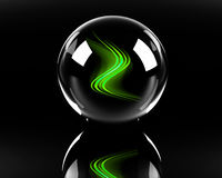 Bright green abstract waves in the glass sphere. On the black background Stock Photography