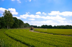 Bright green agriculture farmland with tractor spr. Inkle-sweeper installation with cloudy blue sky Royalty Free Stock Images