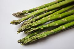 Green Asparagus on White Background stock image