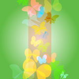 Bright green background with  butterflies - vector Royalty Free Stock Photo