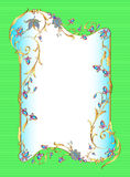Bright green background floral frame with gems Royalty Free Stock Photo