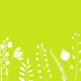 Bright green background with hand painted white royalty free illustration