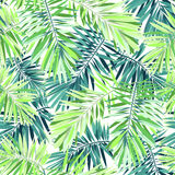 Bright green background with tropical plants. Seamless vector exotic pattern with phoenix palm leaves. Stock Photo