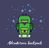 Bright green backpack for travelling  illustration on dark background with shine. Stock Image