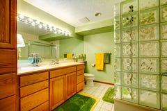 Bright green bathroom Stock Photos
