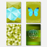 Bright green and blue colored set with geometric butterfly and polygonal background for use in design for card, poster, banner Royalty Free Stock Image
