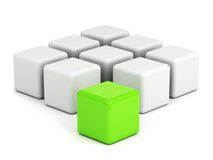 Bright green box ouf of the crowd Royalty Free Stock Photo
