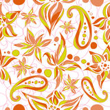 Bright green brown simple pattern with swirls and flowers Royalty Free Stock Images