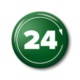 Bright green button with digits 24, day-and-night open tag. Bright green button with digits 24 and arrow. Work time circle label for posters and banners. Day-and Stock Image