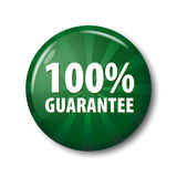 Bright green button with words `100% guarantee`. Warranty circle label for online shops. Design elements on white background with transparent shadow royalty free illustration