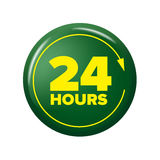 Bright green button with words `24 hours` and arrow. Work time circle label for posters and banners. Day and night open tag. Design element on white background Stock Photography