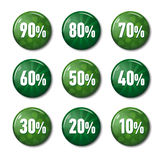 Bright green buttons with discount offers from 90 to 10 percent. Bright green round buttons with discount offers from 90 to 10 percent. Tags for spring sale on royalty free illustration