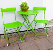 Bright green Cafe Table and Chairs at Reykjavik Iceland Royalty Free Stock Photo