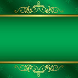 Bright green vector card with floral gold decorations Stock Photo